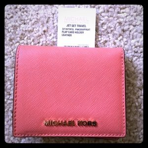 Michael Kors Saffiano Leather Pink Grapefru Wallet